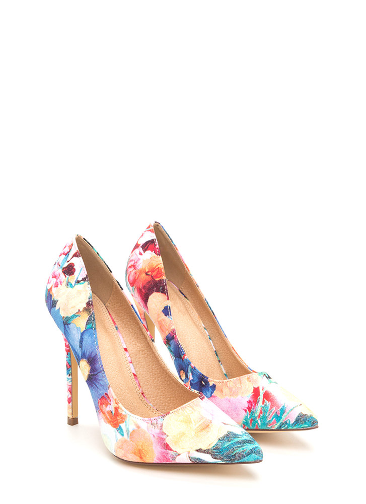 Believe In Basics Pointy Floral Heels FLORAL