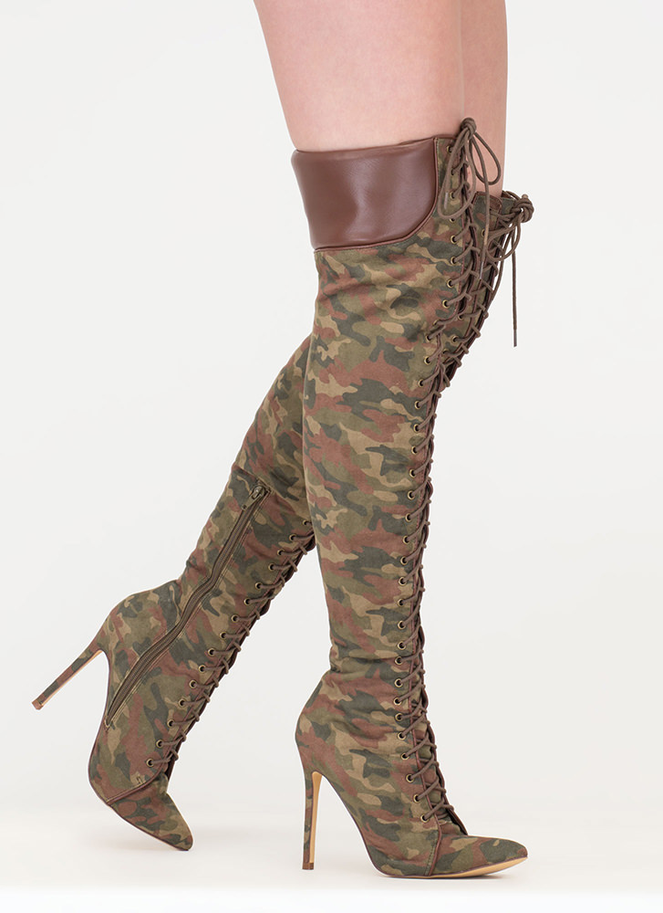 Statement Strut Camo Thigh-High Boots CAMOUFLAGE