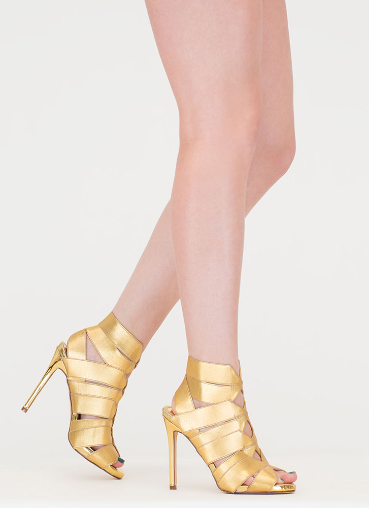 Glitzy Gladiator Strappy Caged Heels GOLD