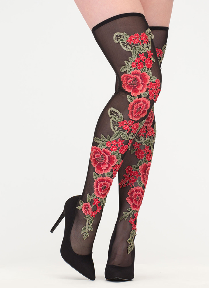 Rosy Romance Sheer Thigh-High Boots MULTI (Final Sale)
