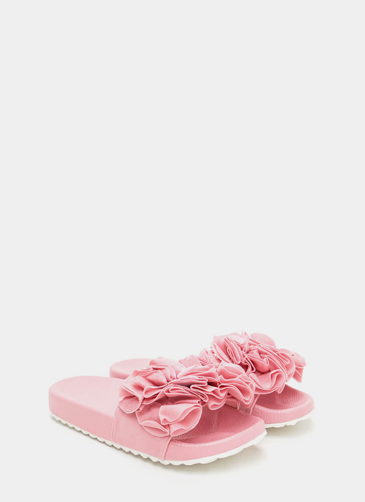 Coming Up Rosettes Slide Sandals PINK