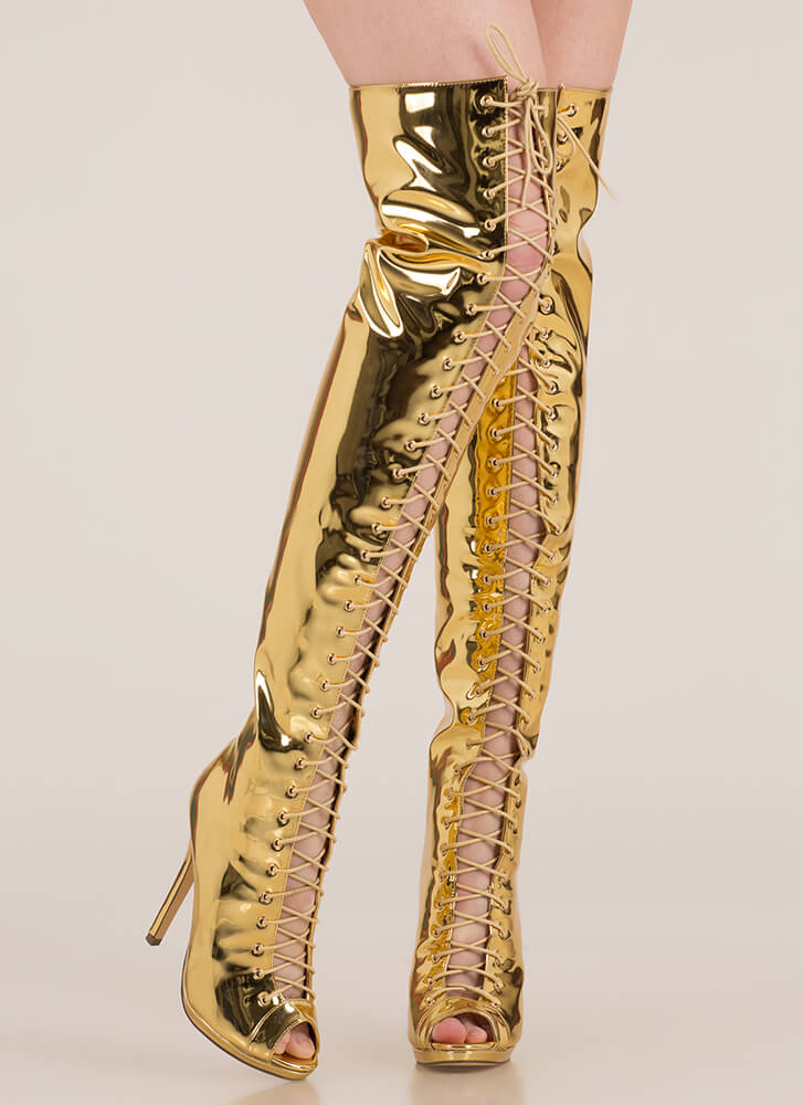 Gloss Over Lace-Up Thigh-High Boots GOLD