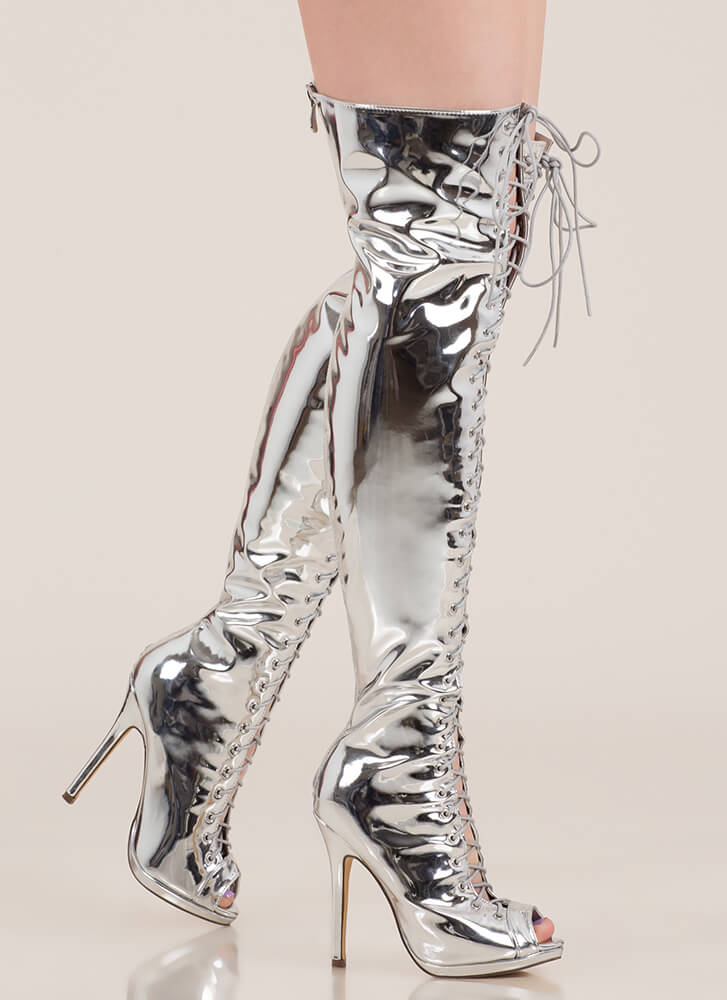 Gloss Over Lace-Up Thigh-High Boots SILVER