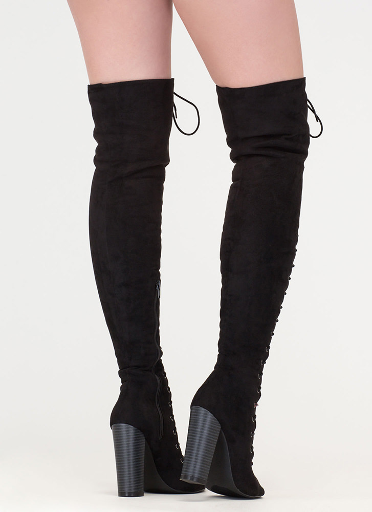 Tall Tale Chunky Thigh-High Boots BLACK