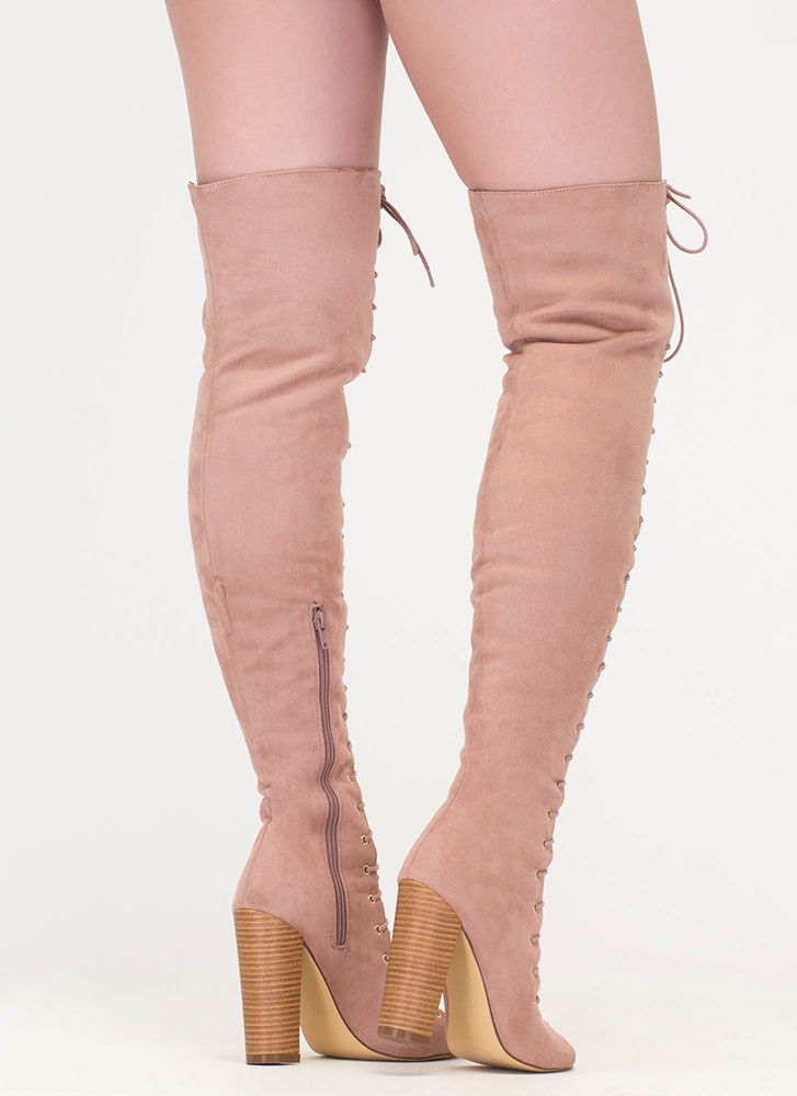 Tall Tale Chunky Thigh-High Boots MAUVE
