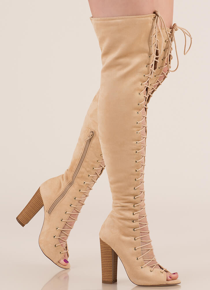 Tall Tale Chunky Thigh-High Boots NUDE