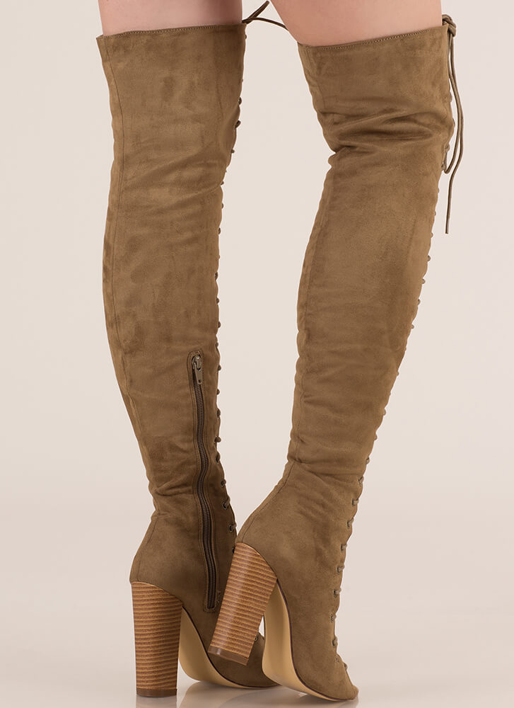 Tall Tale Chunky Thigh-High Boots OLIVE