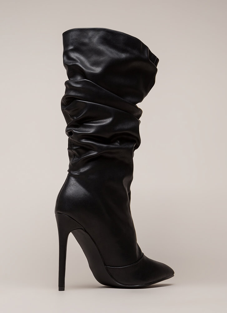 Stylish Slouch Faux Leather Boots BLACK