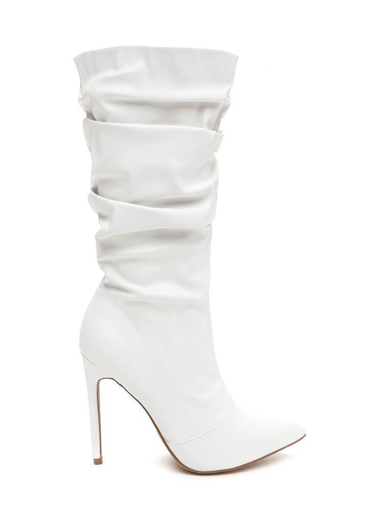 Stylish Slouch Faux Leather Boots WHITE