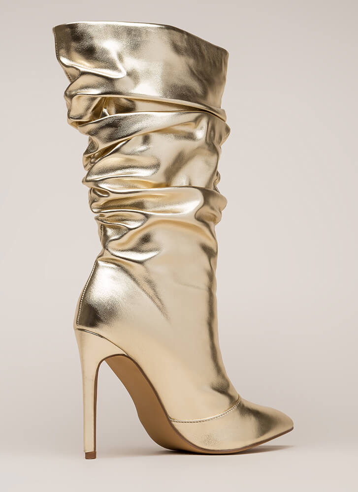Stylish Slouch Metallic Boots GOLD