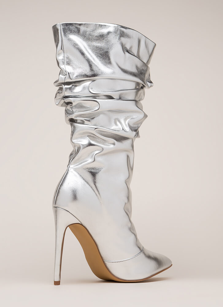 Stylish Slouch Metallic Boots SILVER