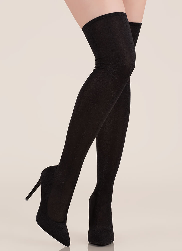 Time To Shine Glitzy Thigh-High Boots BLACK
