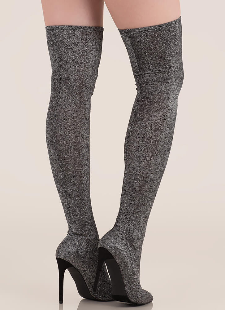 Glam Alter Ego Metallic Thigh-High Boots SILVER
