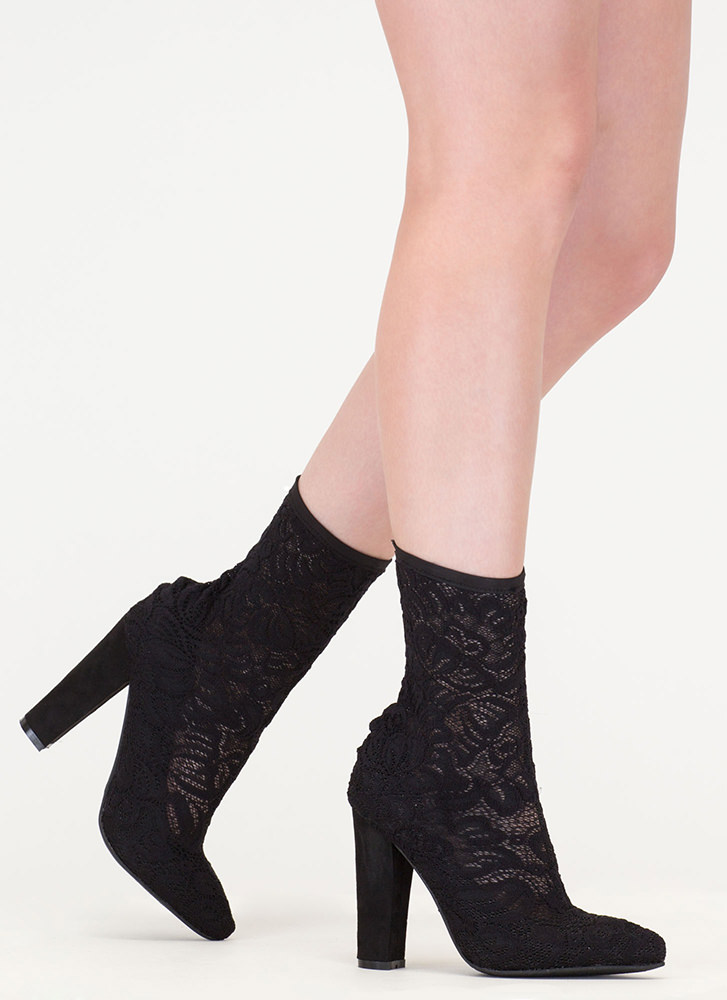 Lace Get It On Chunky Sheer Booties BLACK