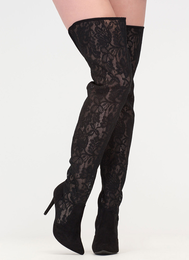 Stand Tall Lace Thigh-High Boots BLACK