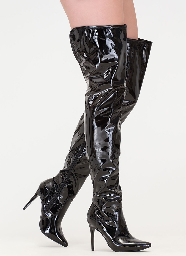 Stand Tall Faux Patent Thigh-High Boots BLACK (Final Sale)