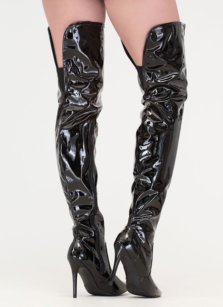 Stand Tall Faux Patent Thigh-High Boots BLACK