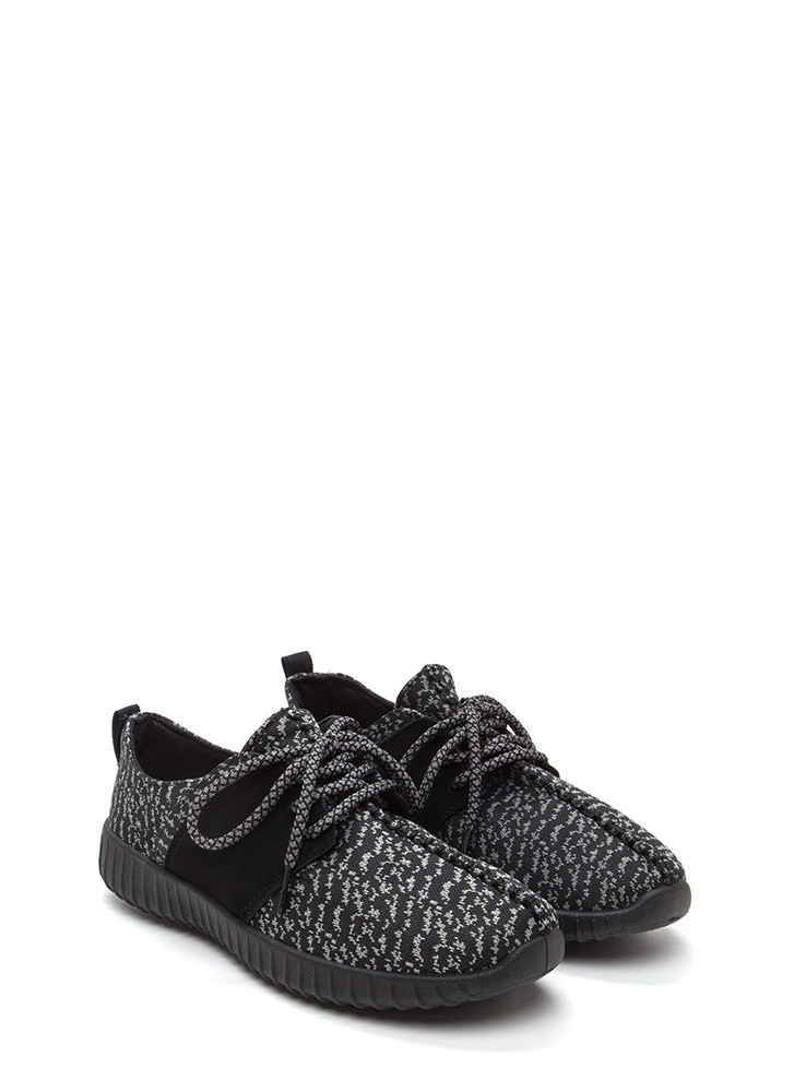 Run The World Knit Lace-Up Sneakers BLACKBLACK