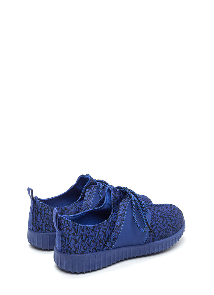 Run The World Knit Lace-Up Sneakers BLUEBLUE