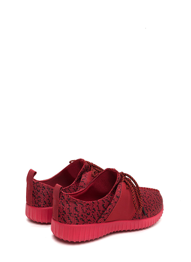 Run The World Knit Lace-Up Sneakers REDRED