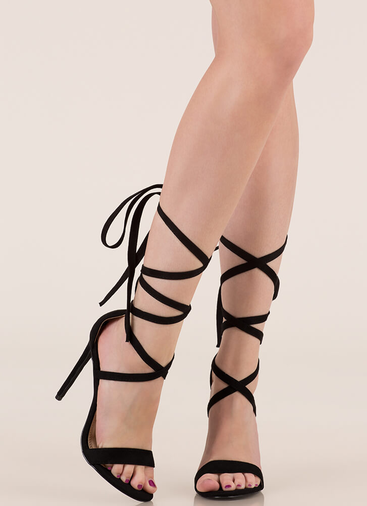 High Street Lace-Up Gladiator Heels BLACK