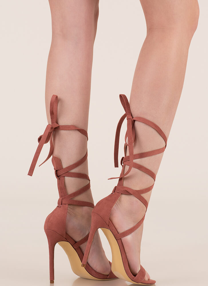 High Street Lace-Up Gladiator Heels DUSTYPINK