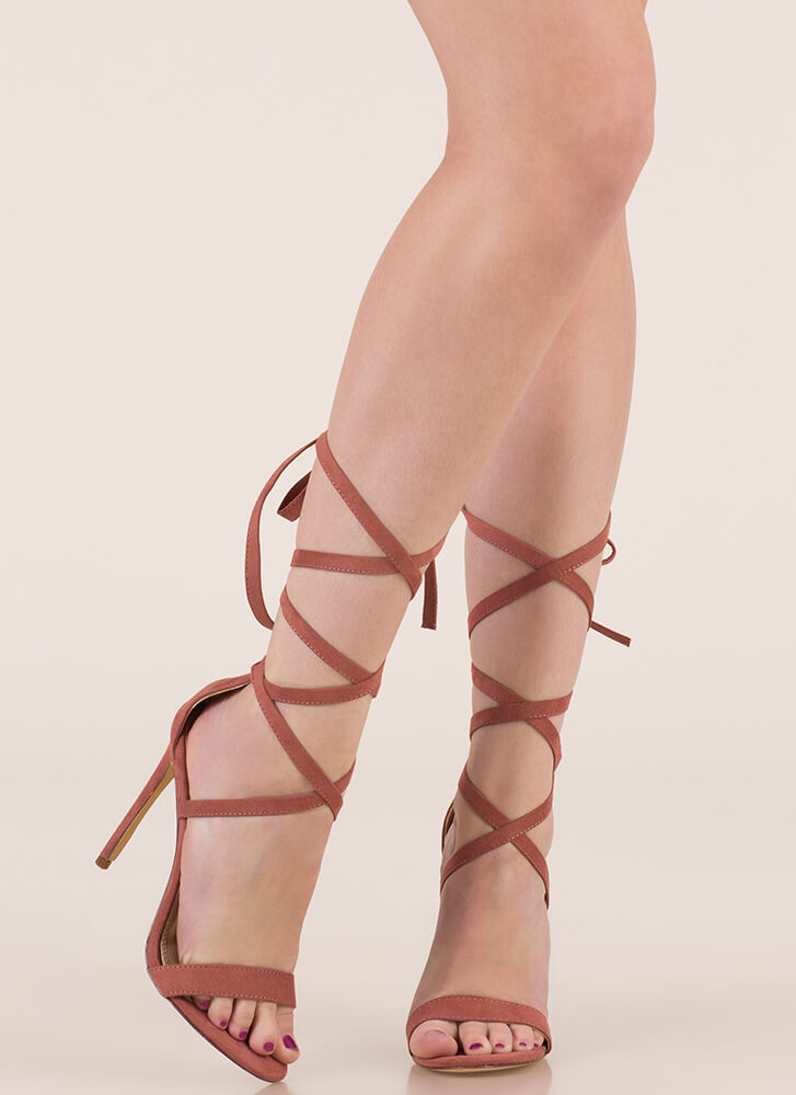 High Street Lace-Up Gladiator Heels DUSTYPINK (You Saved $18)