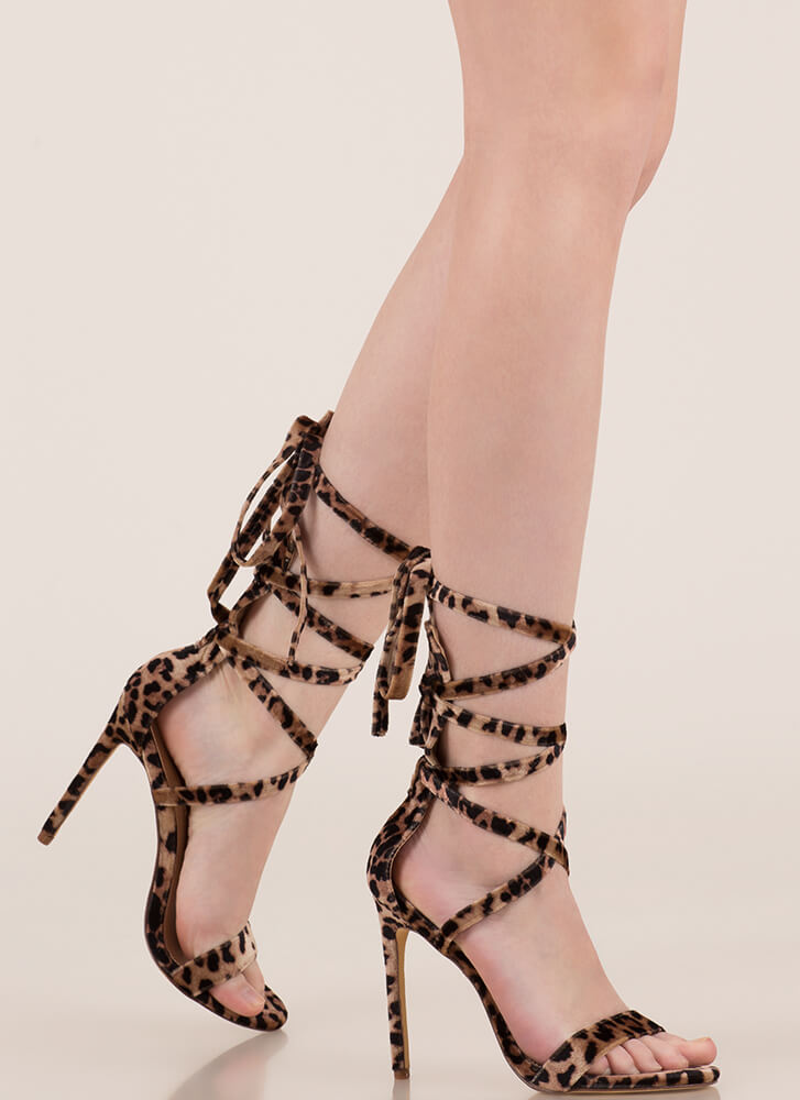 High Street Lace-Up Gladiator Heels LEOPARD