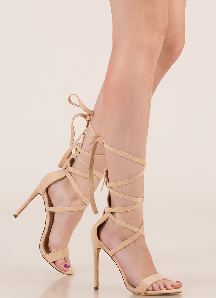 High Street Lace-Up Gladiator Heels NUDE