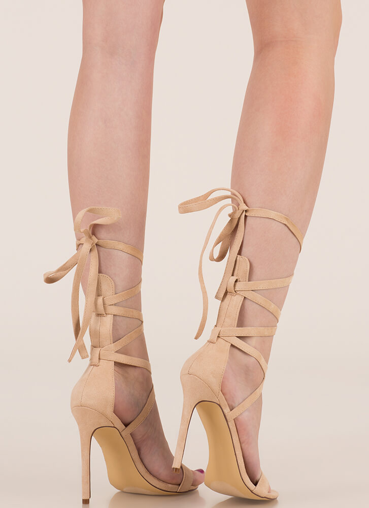 High Street Lace-Up Gladiator Heels NUDE (You Saved $18)