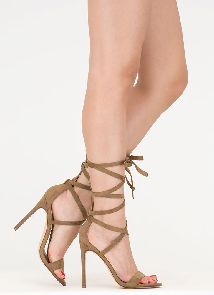 High Street Lace-Up Gladiator Heels OLIVE DUSTYPINK PURPLE ...