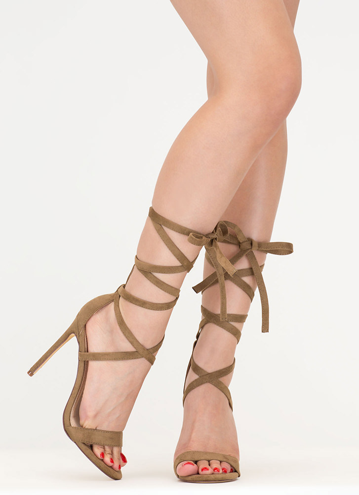 High Street Lace-Up Gladiator Heels OLIVE