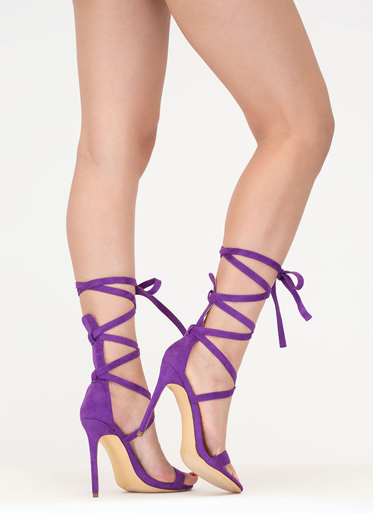 High Street Lace-Up Gladiator Heels PURPLE