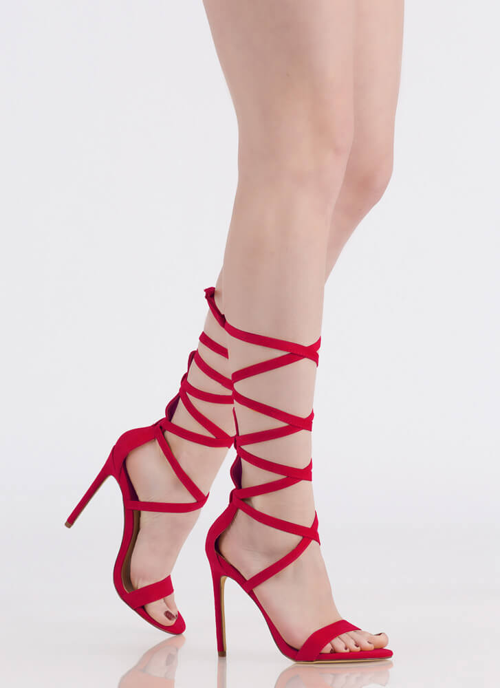 High Street Lace-Up Gladiator Heels RED