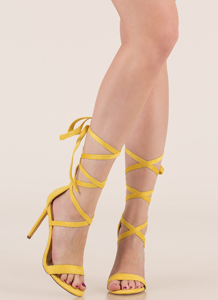 High Street Lace-Up Gladiator Heels YELLOW (You Saved $18)