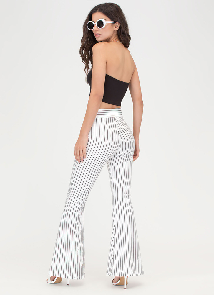 Learn Your Lines Flared Striped Pants WHITE