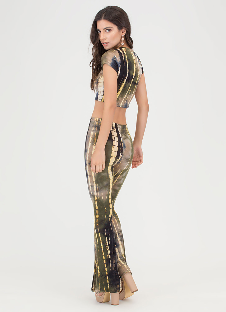 Beach Vibes Tie-Dye Two-Piece Jumpsuit OLIVE
