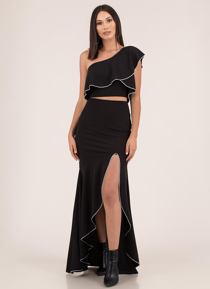 Special Night Ruffled Two-Piece Dress BLACK