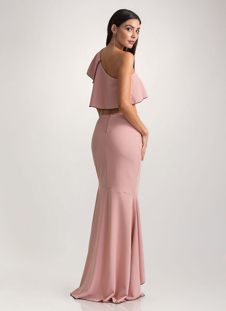 Special Night Ruffled Two-Piece Dress ROSE