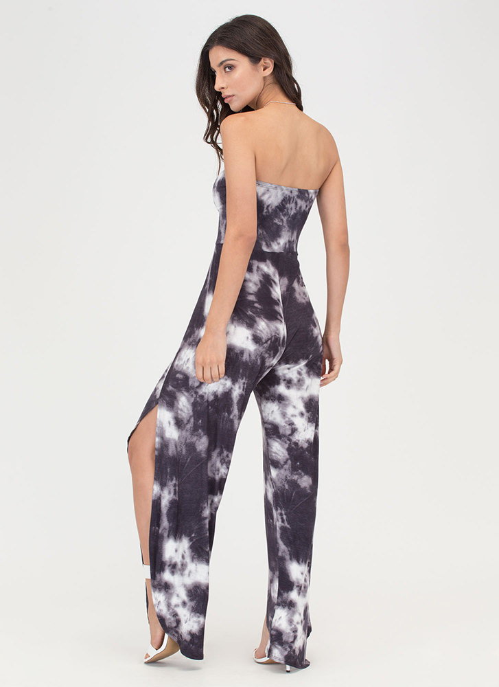 Feeling Beachy Slit Strapless Jumpsuit SLATE