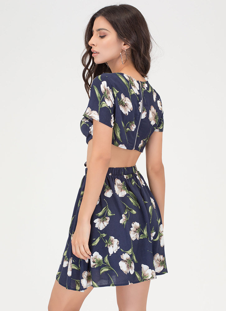 Ring Of Flower Cut-Out Floral Dress NAVY