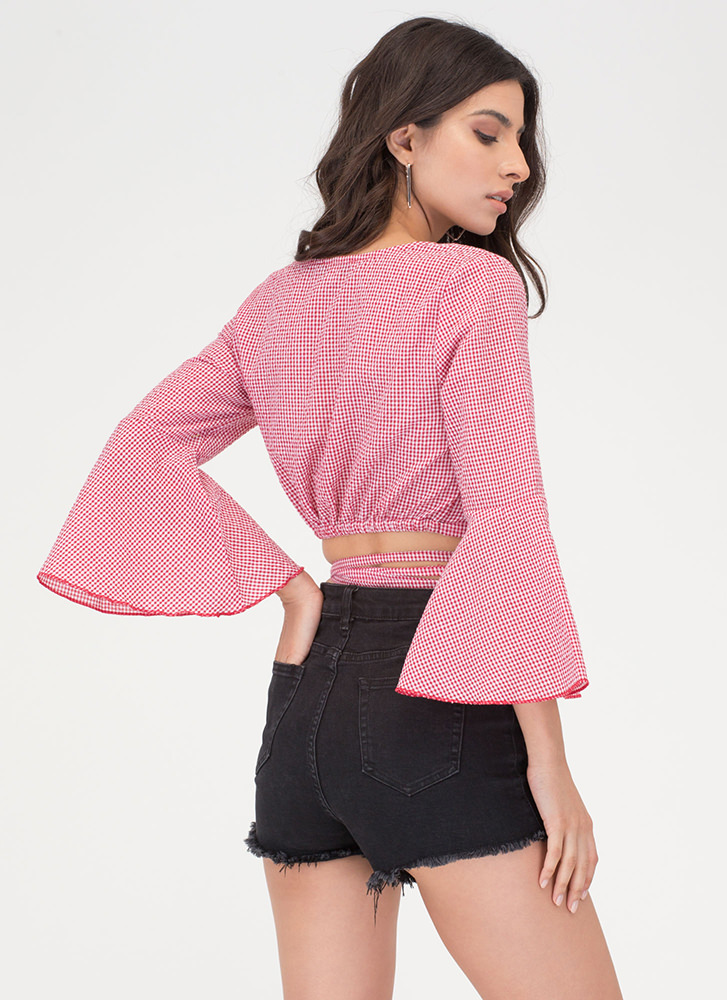 Picnic Perfect Tied Wrap Bell Sleeve Top RED
