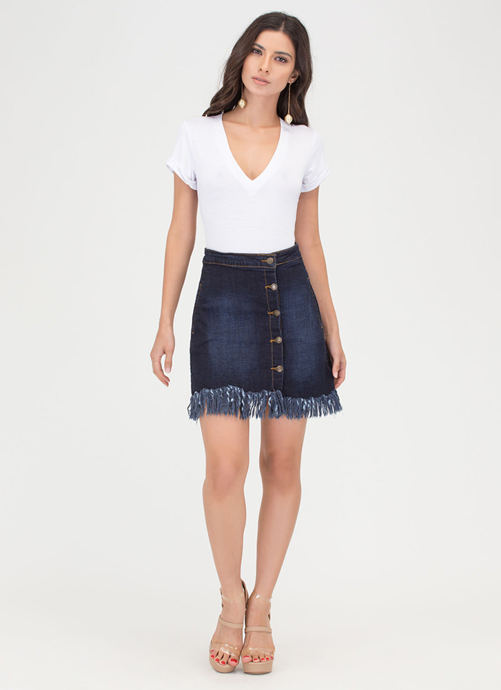 Fast Fringe Buttoned Denim Skirt BLUE