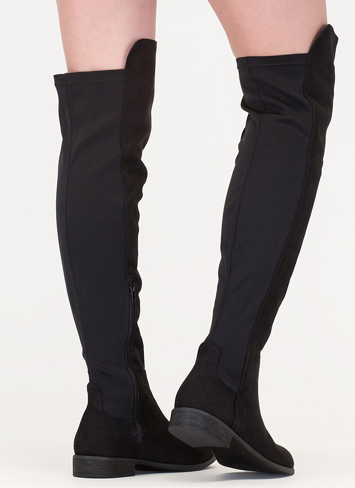 Going Up Paneled Thigh-High Boots BLACK