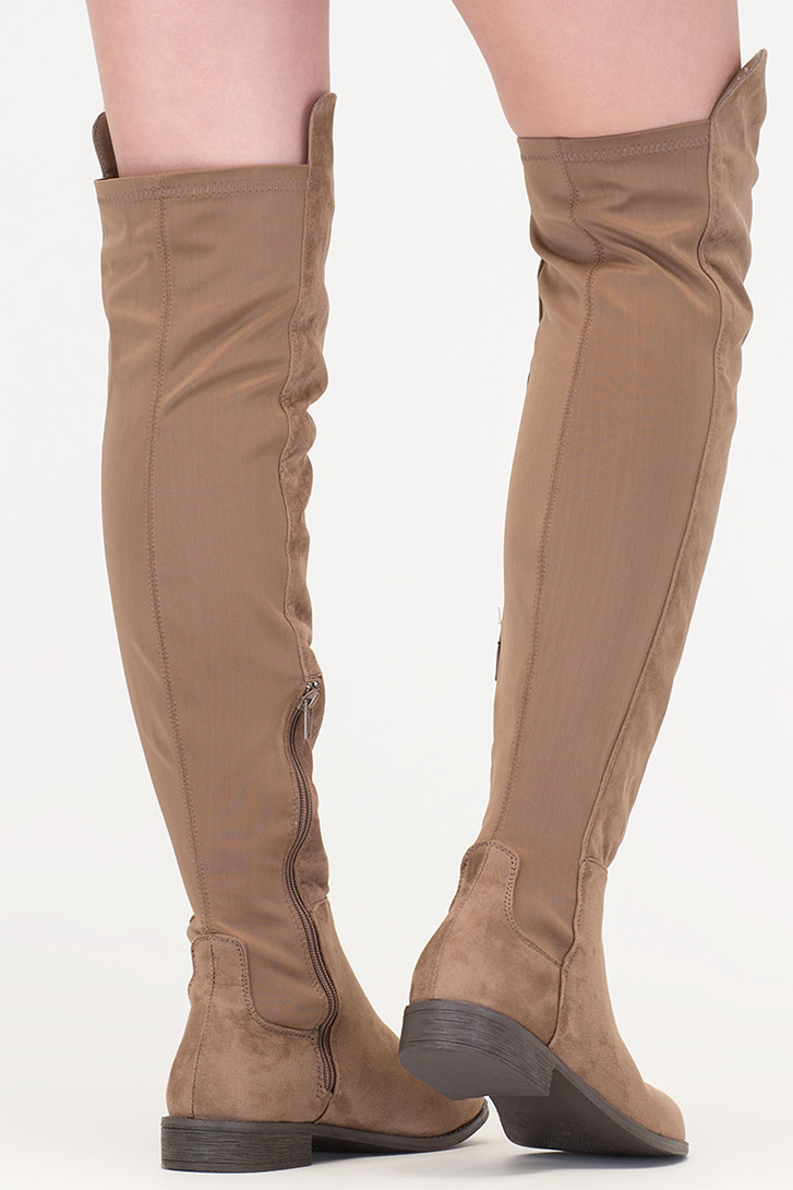 Going Up Paneled Thigh-High Boots TAUPE
