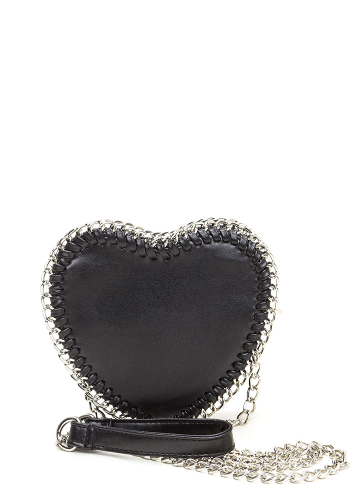 I Heart It Faux Leather 'N Chain Bag BLACK