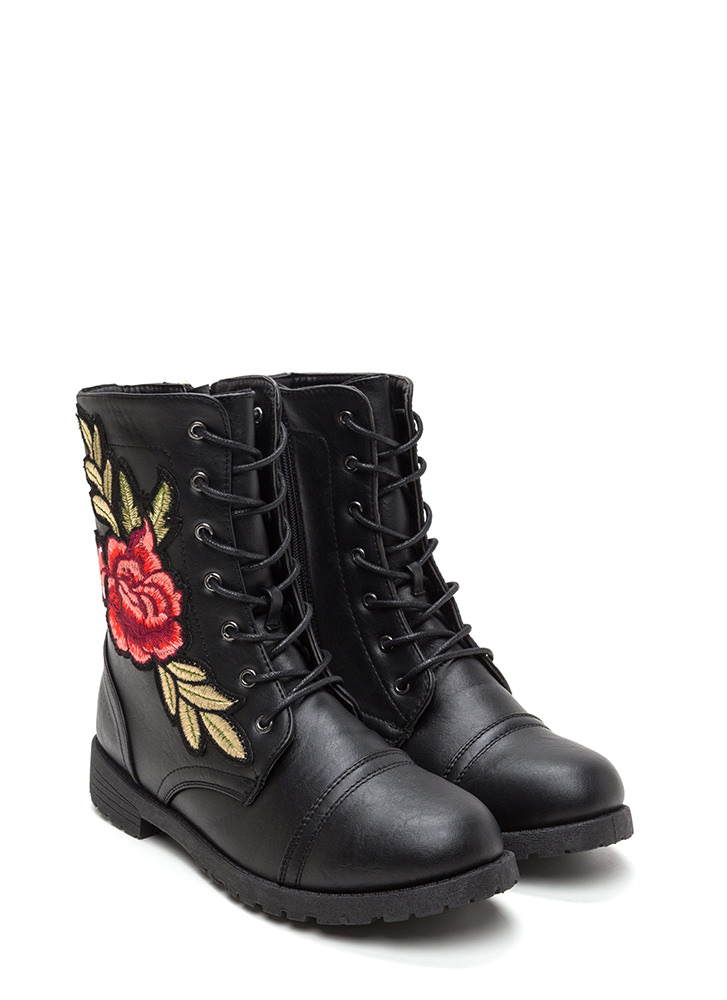 Battle In The Garden Floral Combat Boots BLACK