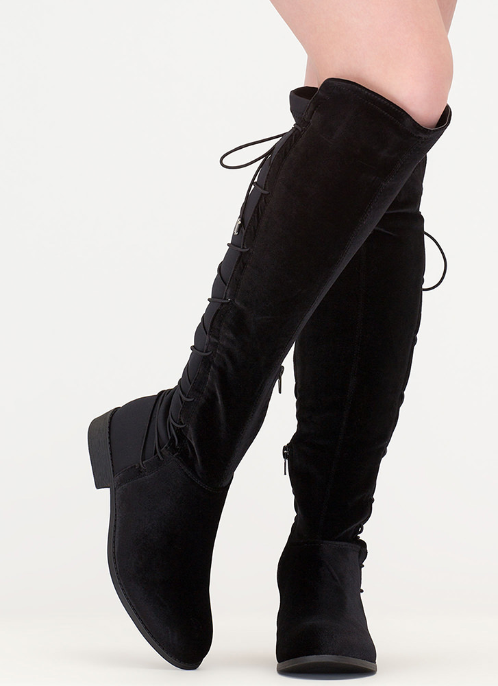 Lace-Back At It Velvet Riding Boots BLACK