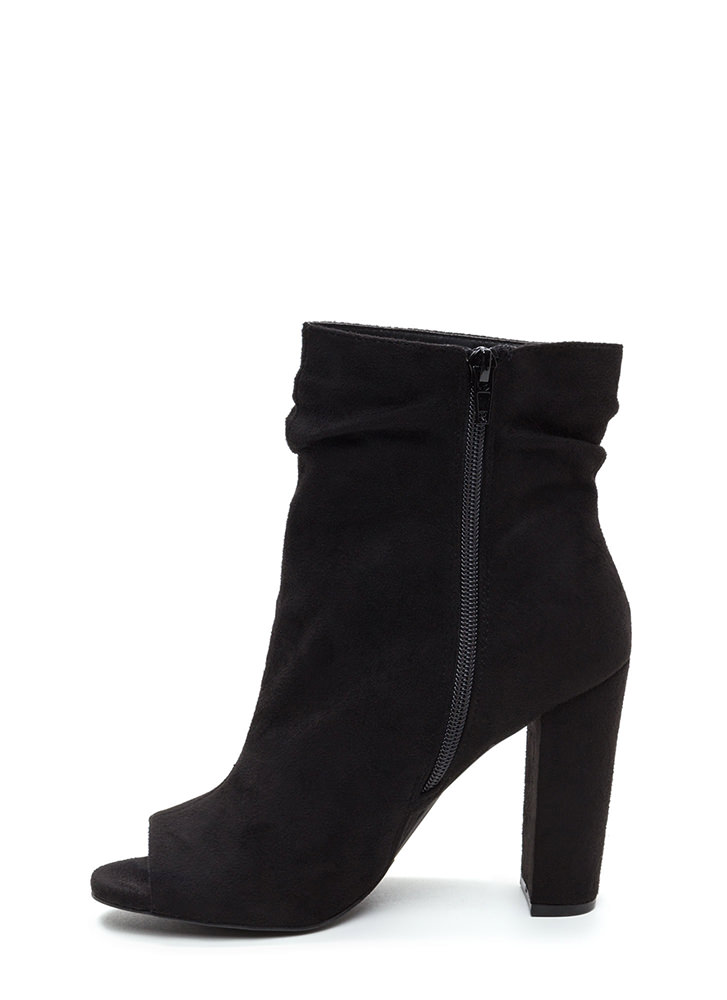 No Slouch Chunky Peep-Toe Booties BLACK