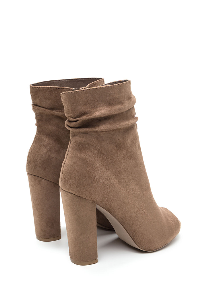 No Slouch Chunky Peep-Toe Booties TAUPE